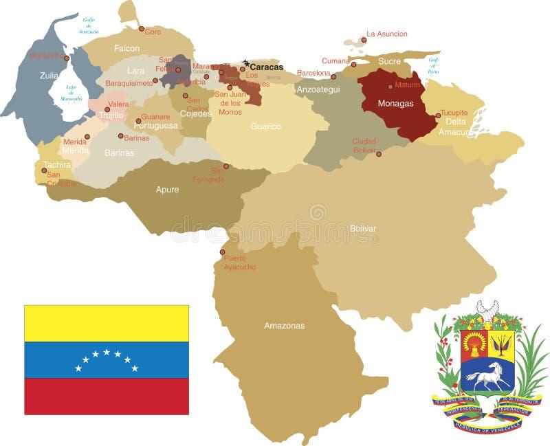Venezuela, Zustände und Kapitalien. lizenzfreie abbildung