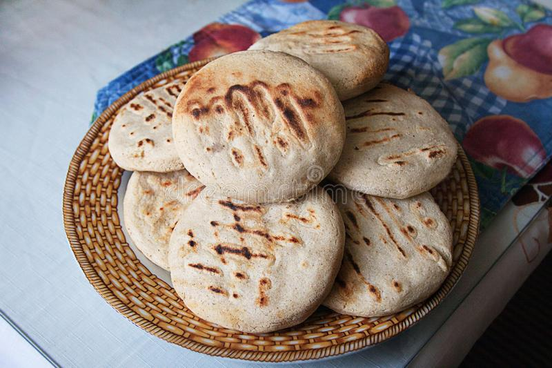 Venezuelan Arepas served on a table stock images
