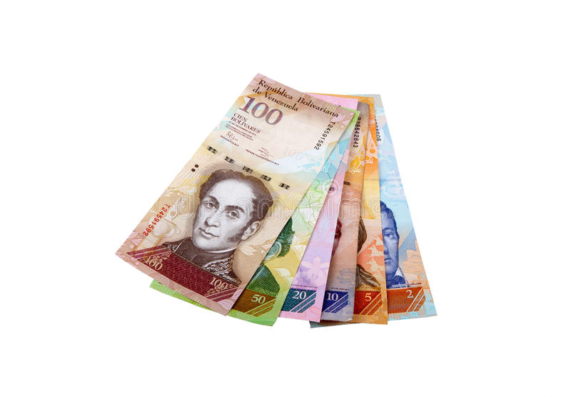 Venezuelan bank notes. Different Venezuelan bank notes on white background stock photography