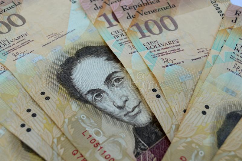 Venezuelan 100 Bs. bank notes royalty free stock photo