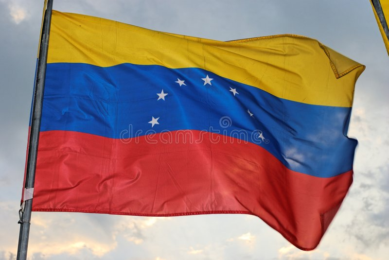 Venezuelan Flag. Waves in the wind stock image