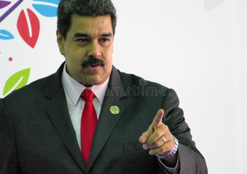 Venezuelan President Nicolas Maduro. Porlamar, Venezuela. September 17th, 2016: Venezuelan President Nicolas Maduro before the opening ceremony at the Non royalty free stock photo