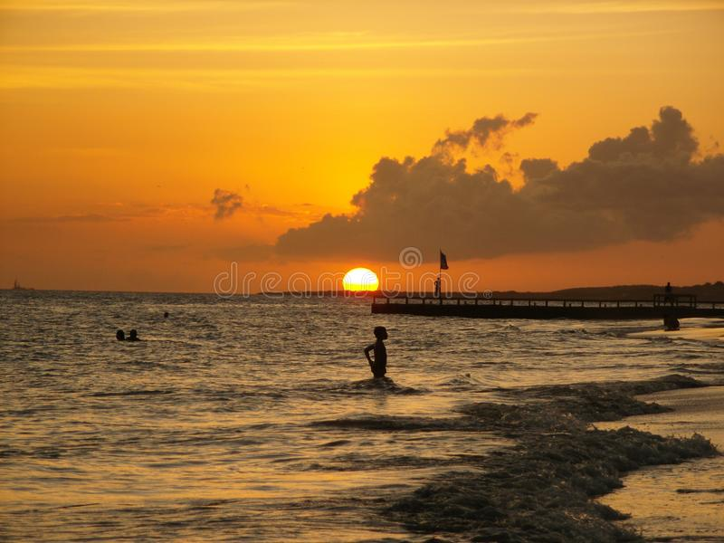 Venezuelan sunset on the coast of Margarita Island stock photo
