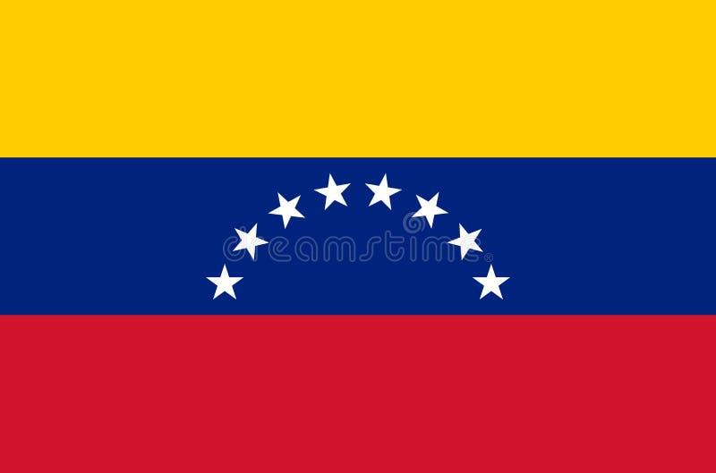 Venezuelansk nationsflagga, officiell flagga av Venezuela exakta färger royaltyfri illustrationer