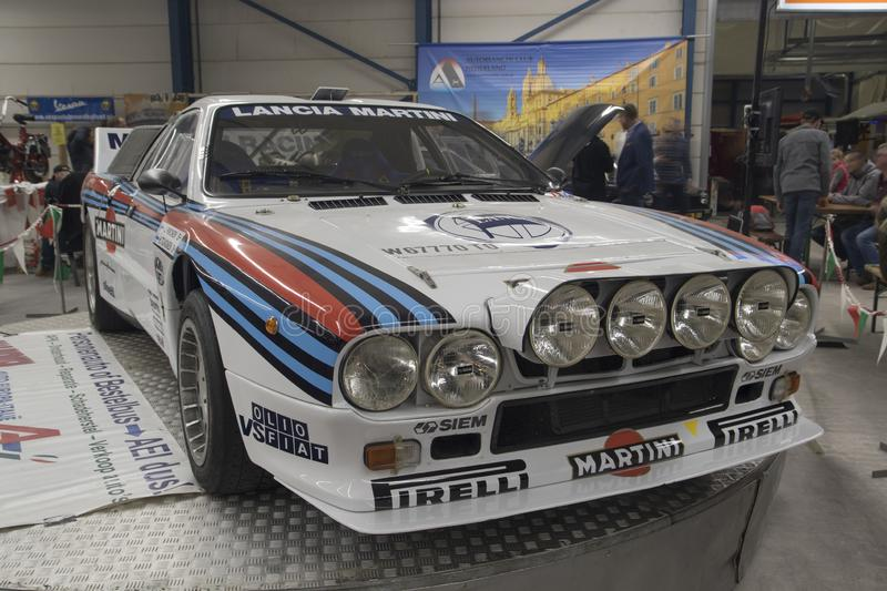 Famous Lancia rally car. VENHUIZEN, THE NETHERLANDS – MARCH 2 , 2018 : Lancia Abarth rally car Martini Racing is the name under which various motor racing stock image