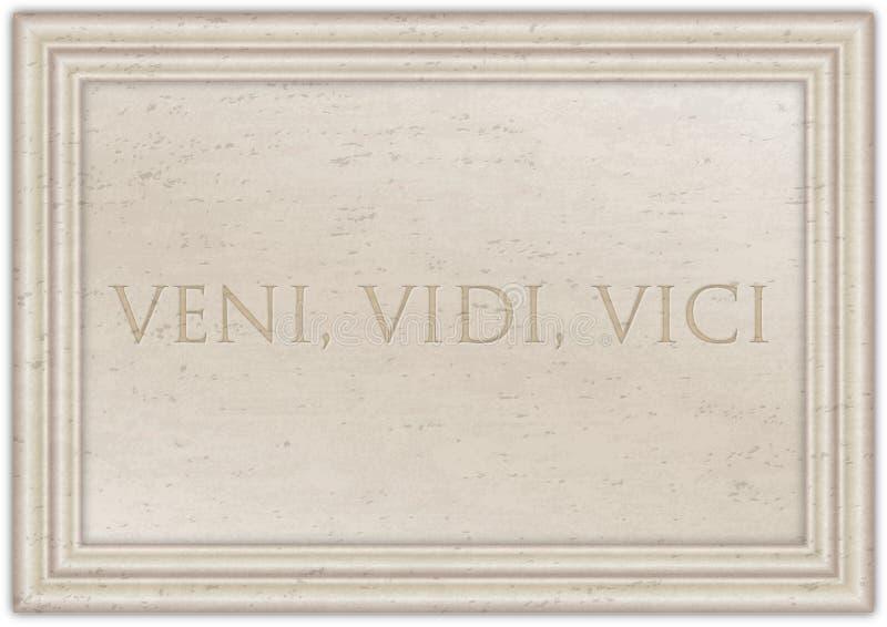 Veni Vidi Vici, expression latine d'emperator de Cesar du plat de marbre antique illustration libre de droits