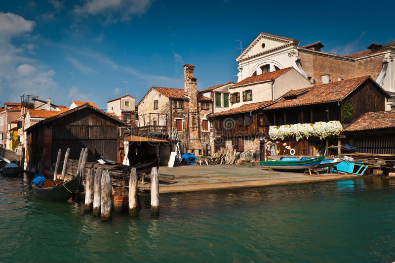 Venice. Gondola workshop near Squero di San Trovaso, Venice, Italy stock photography