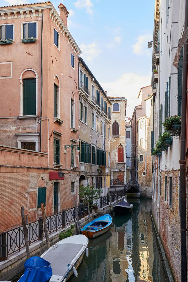 Venice, ancient buildings and nobody in the canal, Italy. Venice, ancient buildings and nobody in the canal, tranquil scene in Italy stock image