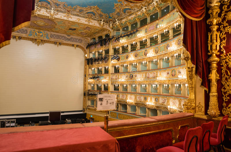 VENICE - APRIL 7, 2014: Interior of La Fenice Theatre. Teatro La stock images