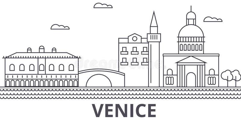 Venice architecture line skyline illustration. Linear vector cityscape with famous landmarks, city sights, design icons. Editable strokes vector illustration