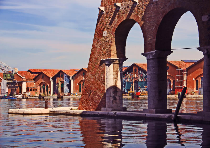 Venice, Arsenale - inner harbour with old docks royalty free stock photography