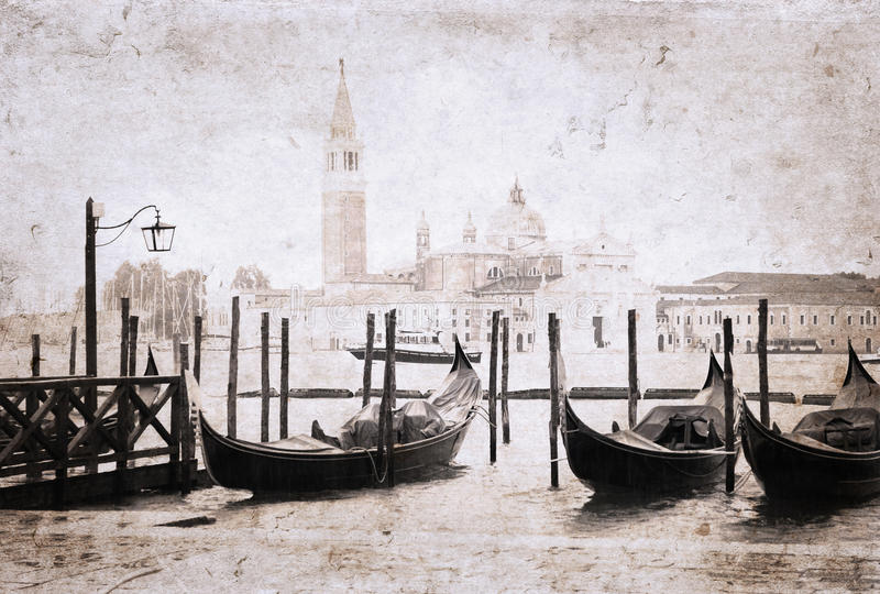 Venice, artwork in retro style royalty free illustration
