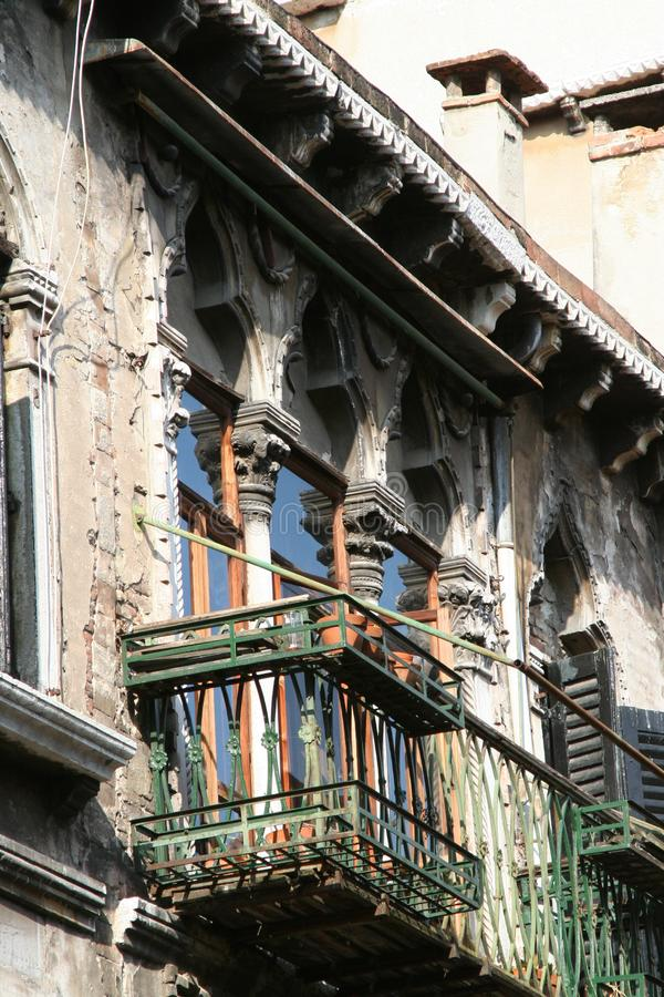 Venice, balcony of an ancient palace, detail stock photography