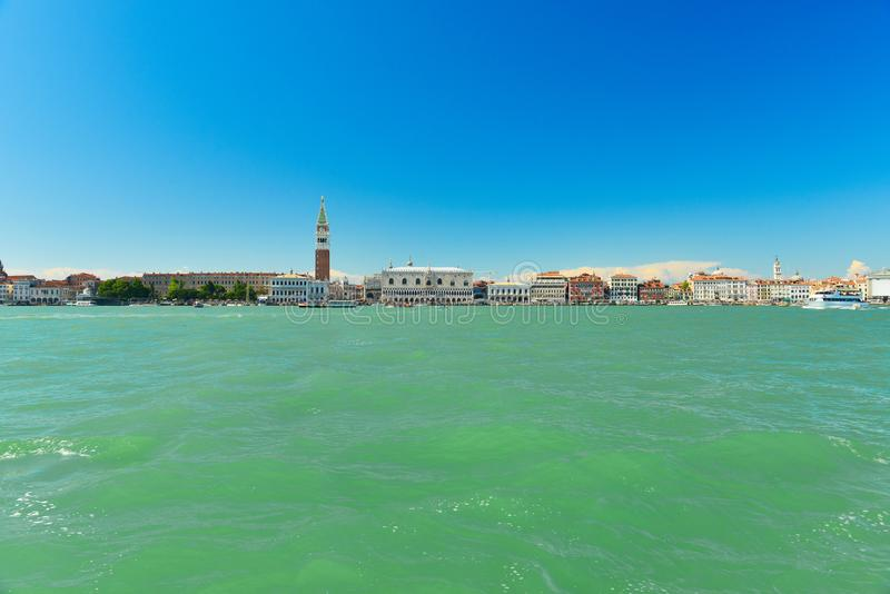Doge`s Palace on San Marco square,Venice,Italy. Doge`s Palace on San Marco square from the sea in sunny weather,Venice,Italy stock images