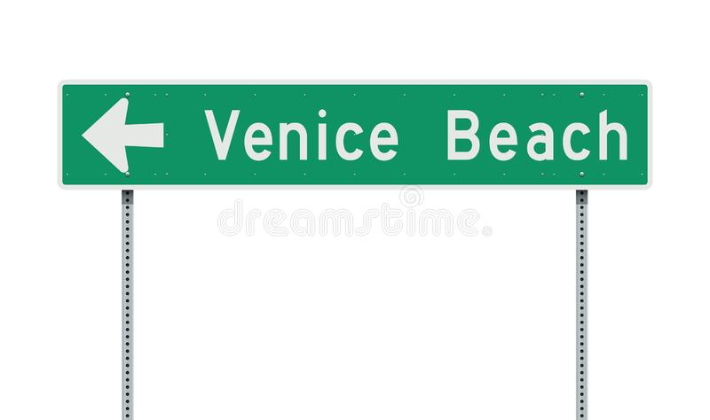 Venice Beach direction road sign stock illustration