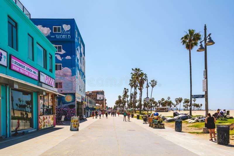 Venice Beach, distretto costiero con acquisto esclusivo fotografie stock libere da diritti