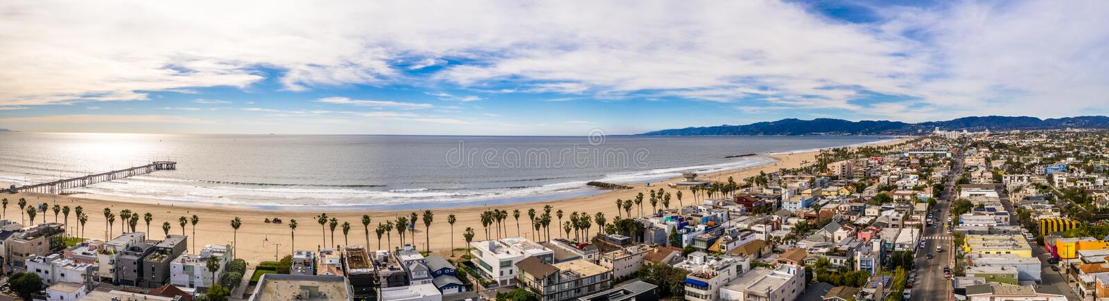 Venice beach Los Angeles California LA Aerial royalty free stock photography