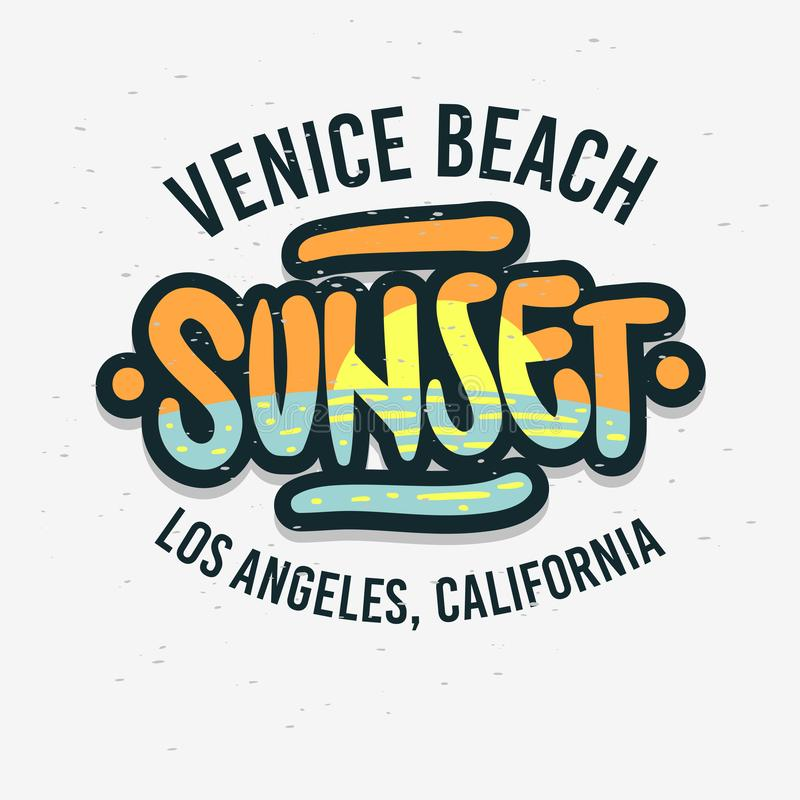 Venice Beach Los Angeles California Sunset Label Sign Logo Hand Drawn Lettering Modern Calligraphy for t shirt o. R sticker Vector Image stock illustration