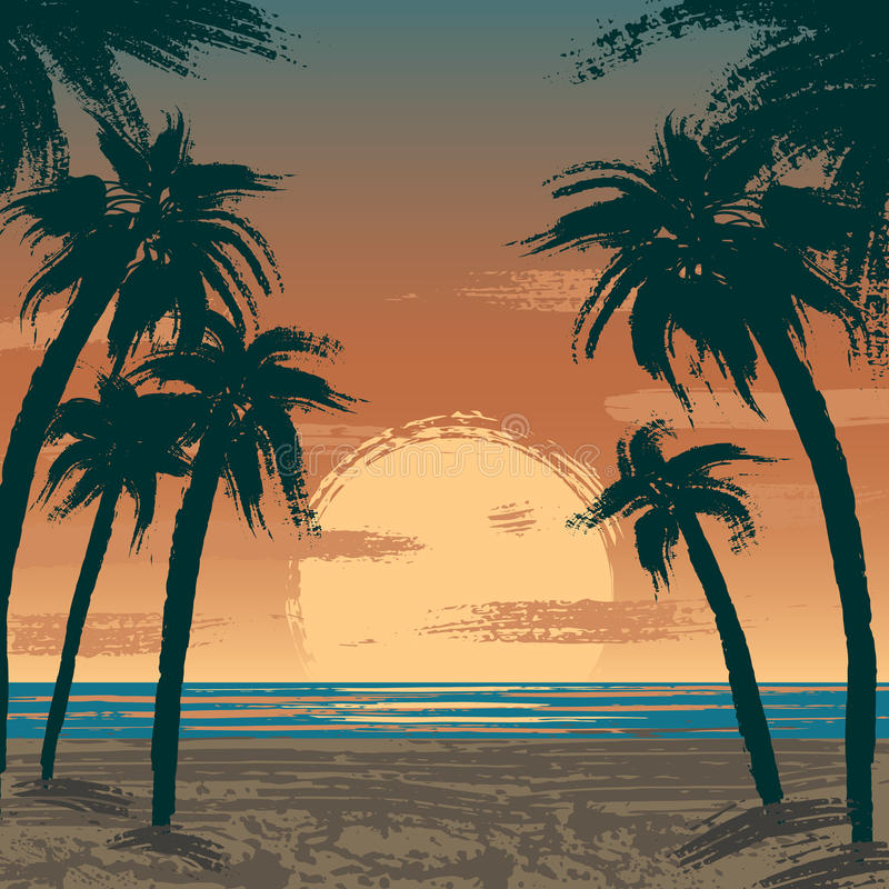 Venice beach, Los Angeles. Illustration of sunset at Venice beach, Los Angeles, USA. Pacific ocean, sand beach and palms vector illustration