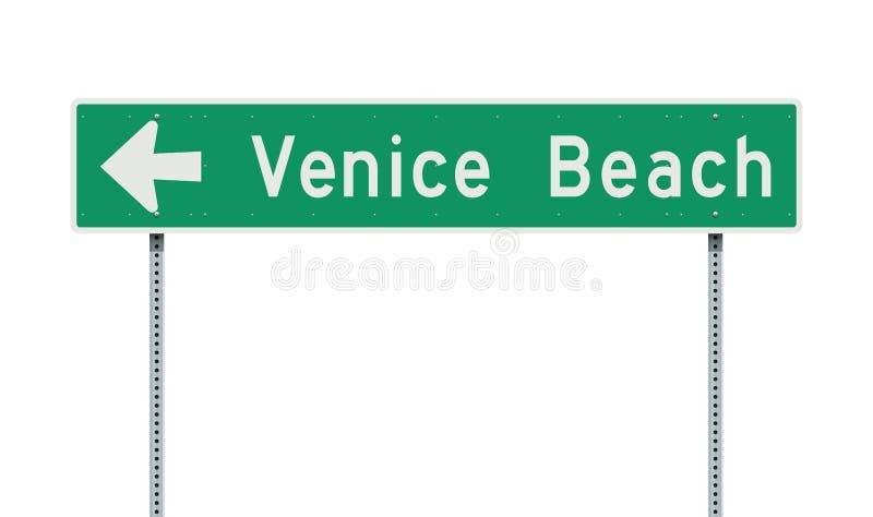 Venice Beach riktningsvägmärke stock illustrationer