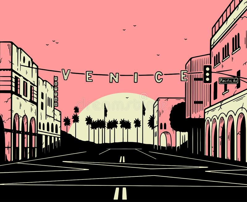 VENICE BEACH SUN PINK BLACK vector illustration