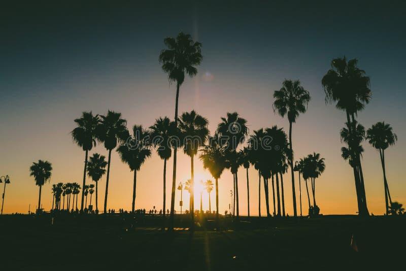 Venice beach Sunset in Los Angeles with a pedestrian walk during orange sunset. Empty beach. Beautiful Venice beach area in Los Angeles with a pedestrian walk stock photo
