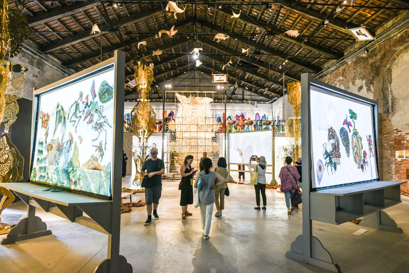 Venice Biennial 2017, Chinese Pavilion. Artwork installation of the 57th edition of the Venice Biennial in 2017. Inside the Chinese Pavilion, curated by Qui royalty free stock photos