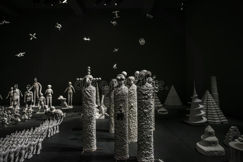 Venice Biennial 2017, Russia Pavilion. Artwork installation of the 57th edition of the Venice Biennial in 2017. The Russian Pavilion with miniature art royalty free stock photography