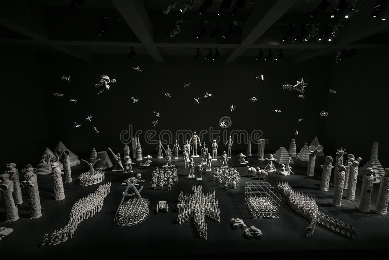Venice Biennial 2017, Russia Pavilion. Artwork installation of the 57th edition of the Venice Biennial in 2017. The Russian Pavilion with miniature art stock image