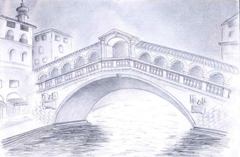 Download Venice Bridge stock illustration. Image of graphite, architecture - 27775459