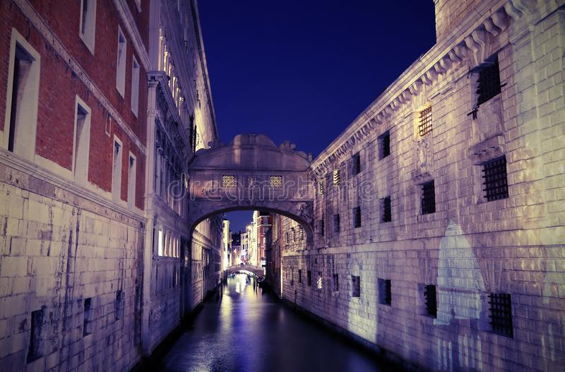 VENICE Bridge of Sighs at night using long exposure stock photo