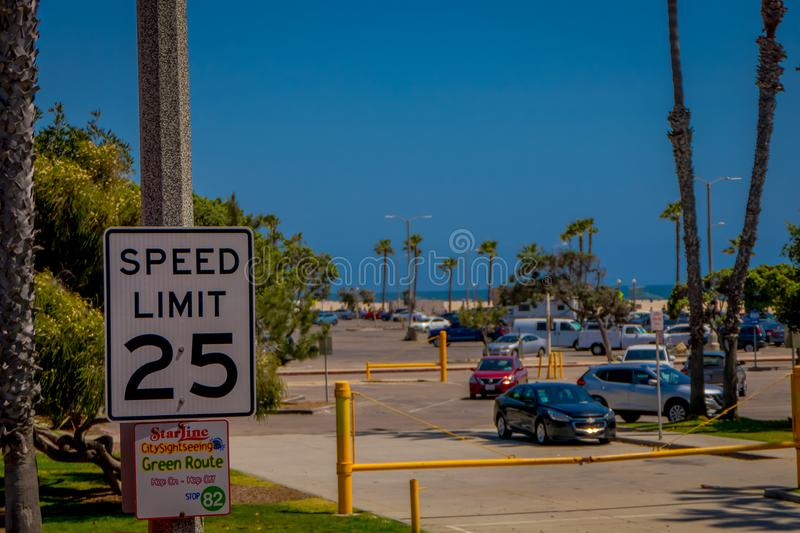 VENICE, CALIFORNIA, USA, AUGUST, 20, 2018: Outdoor view of informative sign of speed limit 25 in Venice Beach in the royalty free stock image