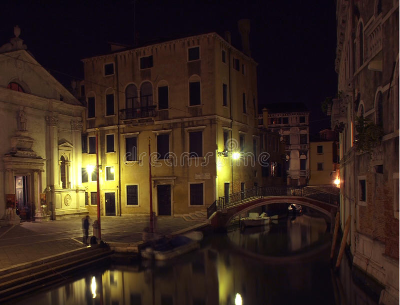 Venice Canal 1. Venice Canal and Church in the Evening royalty free stock photos