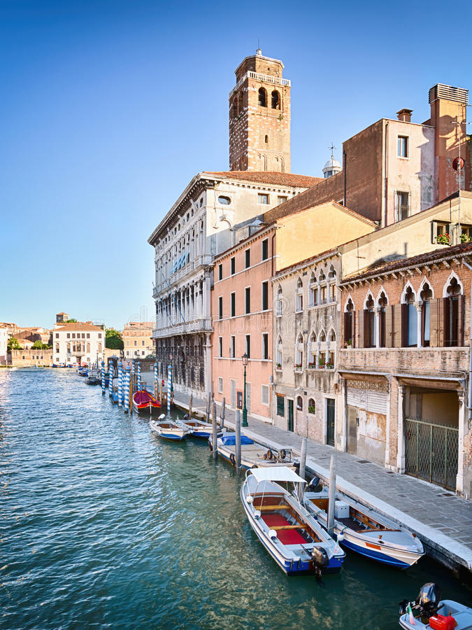 Venice - Canal, Boats and Buildings royalty free stock photos