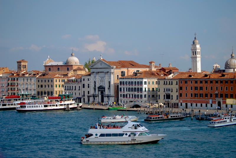 Venice Canal Cityscape tower and canal boats stock photography
