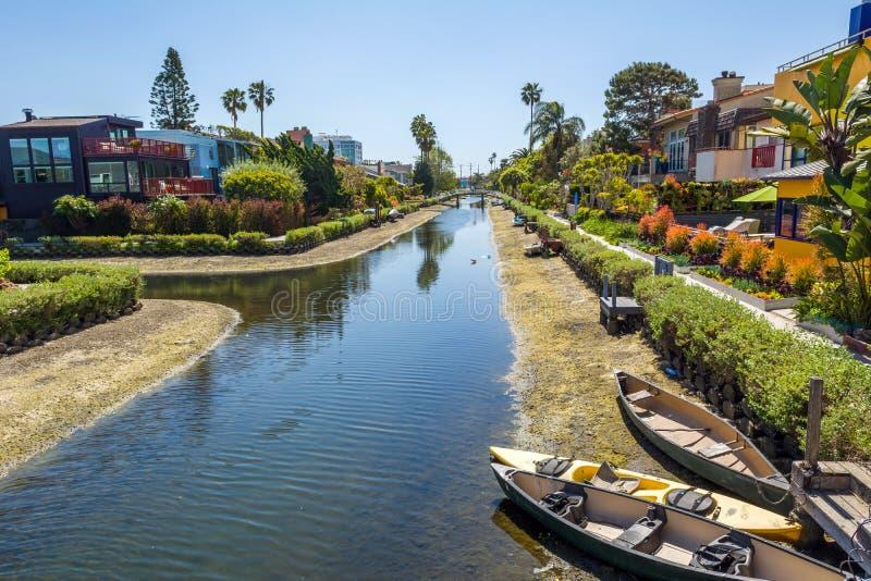 Venice Canal Historic Distric i Los Angeles Förenta staterna arkivfoto