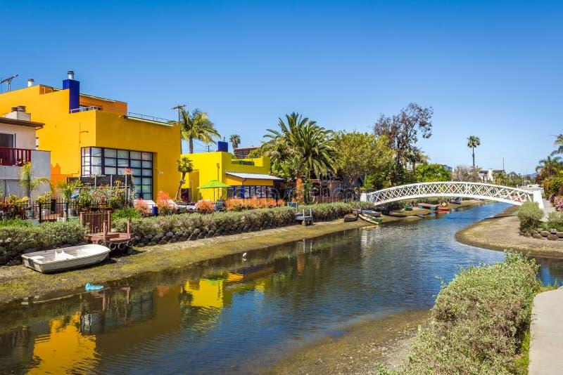 Venice Canal Historic Distric i Los Angeles Förenta staterna arkivbild