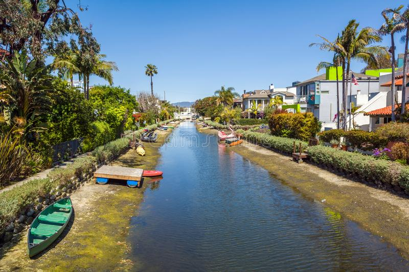 Venice Canal Historic Distric in Los Angeles. United States. Venice Canal Historic District. Venice Canals in Southern California in Los Angeles. United States royalty free stock photo