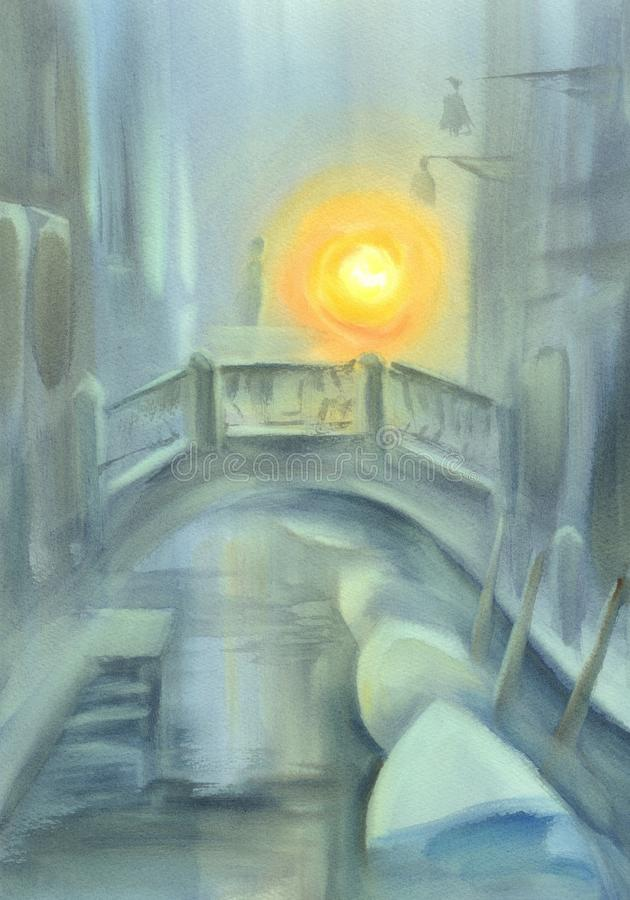 Venice canal in the mist. Watercolor background royalty free illustration