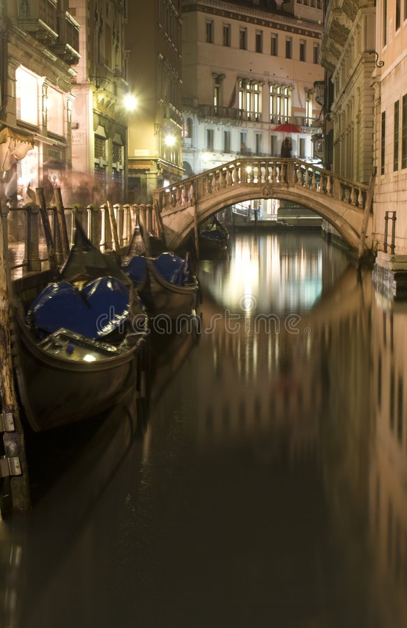 Venice canal in night royalty free stock photos