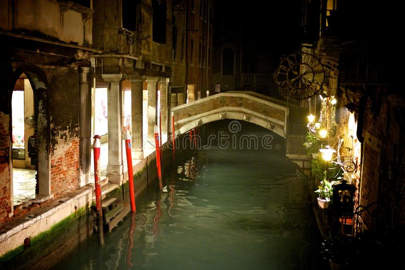 Venice canal. On a night winter scene royalty free stock photo