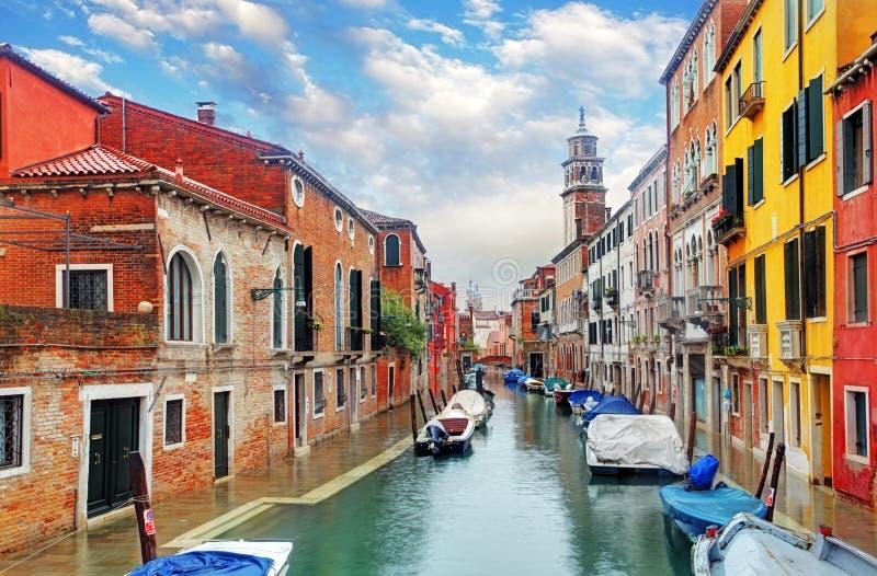 Venice canal with ship. Venice canal with a ship stock photos