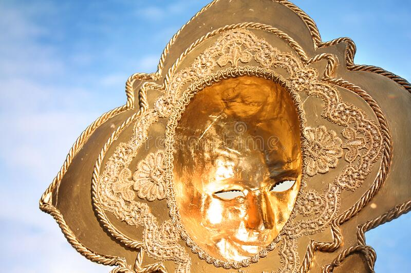 Venice Carnival Golden Mask royalty free stock images