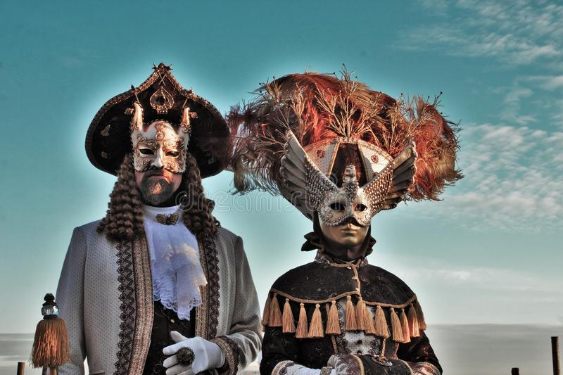 Venice carnival, portrait of a mask, during the Venetian carnival in the whole city there are wonderful masks. royalty free stock photo