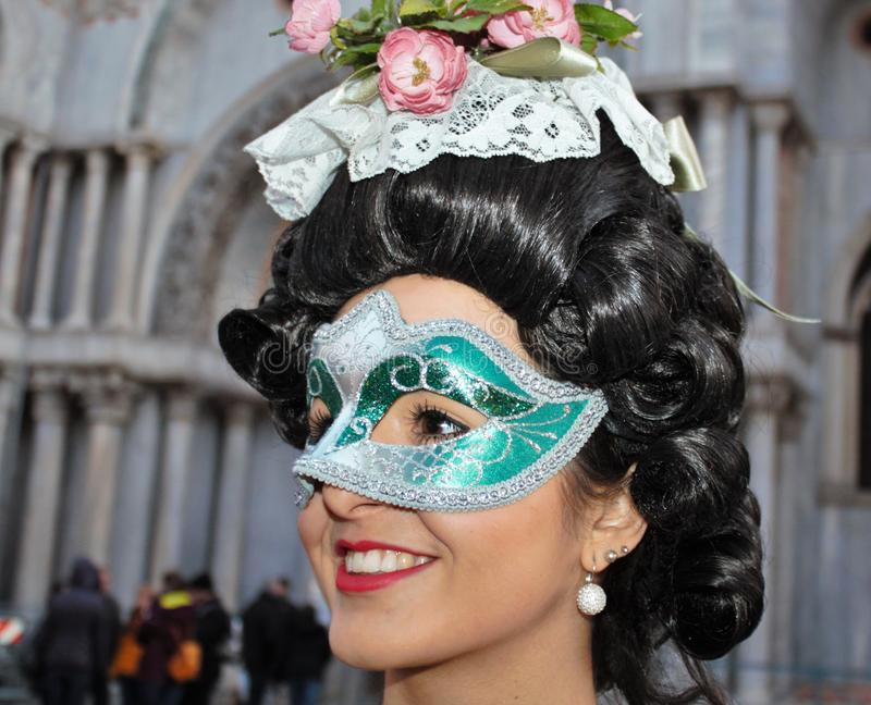 Venice carnival, portrait of a mask, during the Venetian carnival in the whole city there are wonderful masks. stock photos