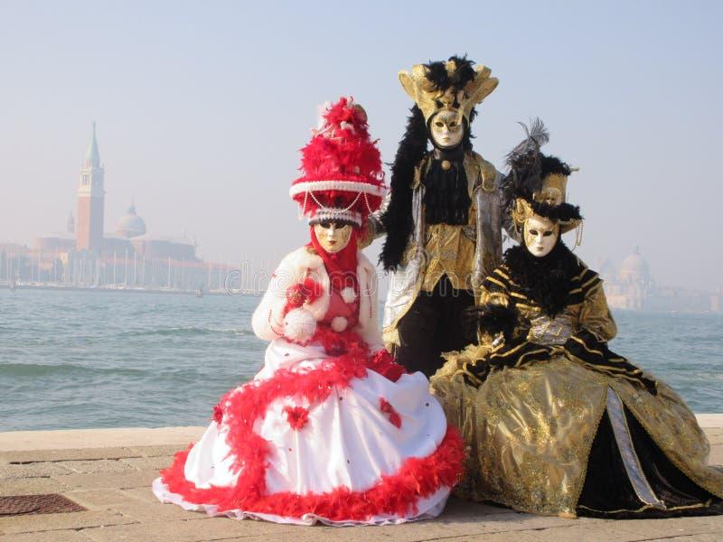 Venice carnival three ladies stock photography