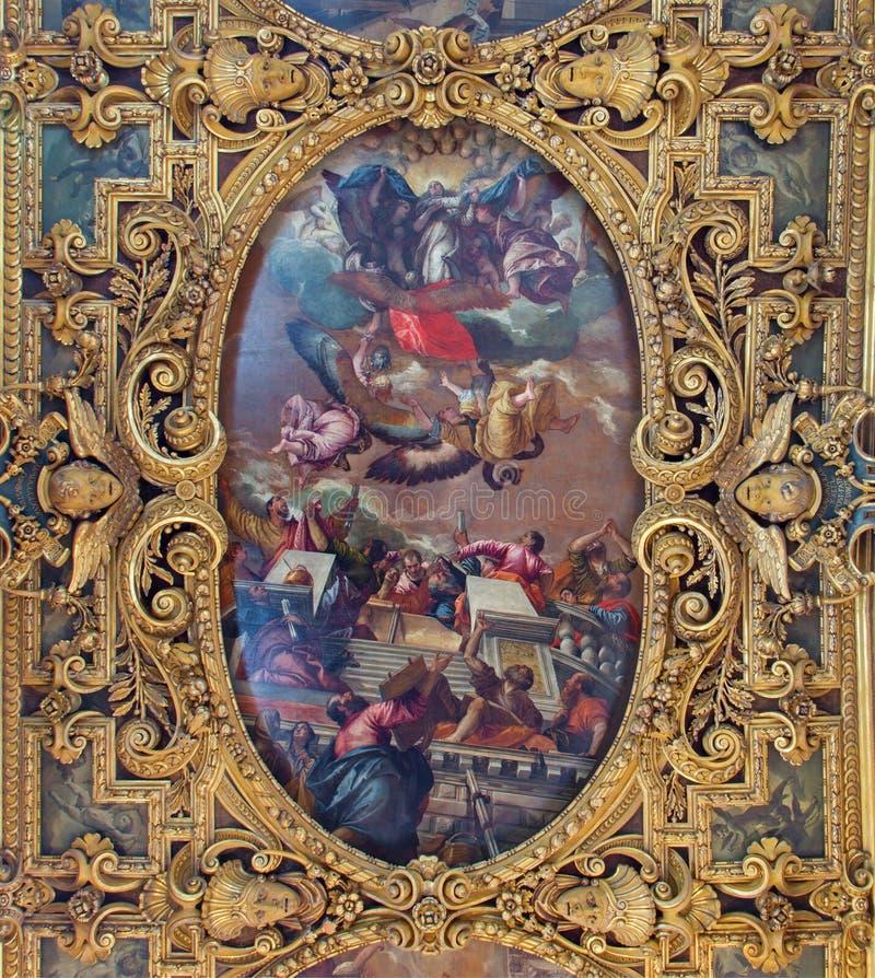 Venice - Ceiling of Cappella della SS. Vergine del Rosario from 17. cent. in Basilica di san Giovanni e Paolo church. VENICE, ITALY - MARCH 12, 2014: Ceiling of royalty free stock image