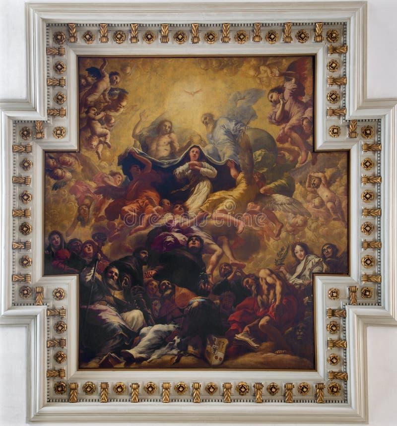 Venice - Ceiling fresco from church chiesa di Santa maria del Giglio. Coronation of Virgin Mary. By Antonio Zanchi stock images
