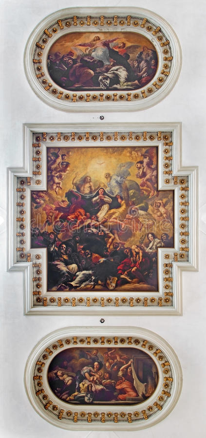 Venice - Ceiling fresco from church chiesa di Santa Maria del Giglio. Coronation of Virgin Mary as central motive -Antonio. VENICE, ITALY - MARCH 12, 2014 royalty free stock images