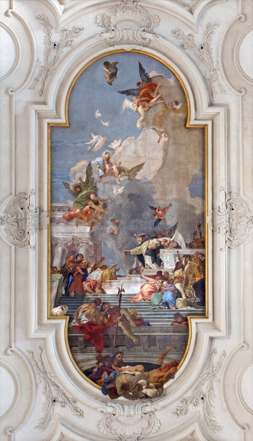 Venice - Ceiling fresco from church Santa Maria del Rosario (Chiesa dei Gesuati) by Giovanni Battista Tiepolo. VENICE, ITALY - MARCH 11, 2014: Ceiling fresco royalty free stock photos